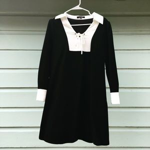women's black dress wi/ satin collar and cuffs